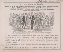 Advert For H. Podger & Son, Men's Clothing
